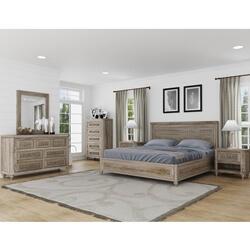 Winnetka Rustic Teak Wood 4 Piece Handcarved Bedroom Set