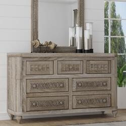 Winnetka Rustic Teak Wood 7 Drawer Bedroom Dresser