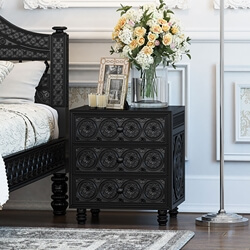 Lahaina Solid Teak Wood Hand Carved Moroccan Style 3 Drawer Nightstand