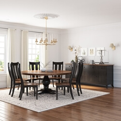 Rexburg Black Two Tone Solid Wood 10 Piece Dining Room Set