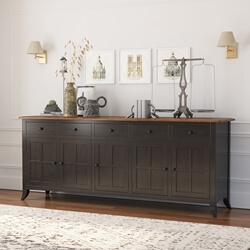 Rexburg Black Two Tone Solid Wood 5 Drawer Extra Long Sideboard