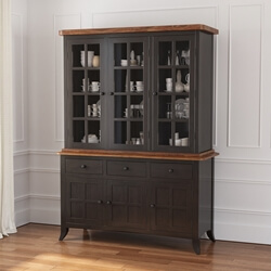 Rexburg Black Two Tone Solid Wood Dining Room Farmhouse Hutch