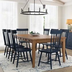 Peshtigo Teak & Mahogany Wood 9 PC Farmhouse Dining Table Chair Set