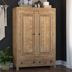 Waukesha Hand Carved Teak Wood Moroccan Style Large Armoire Wardrobe