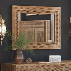 Waukesha Hand Carved Teak Wood Moroccan Style Mirror Frame