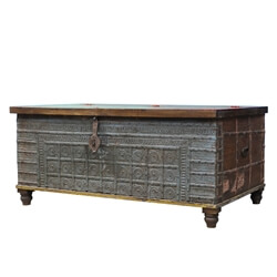 """Holton Rustic Solid Wood 51"""" Traditional Large Storage Trunk Chest"""
