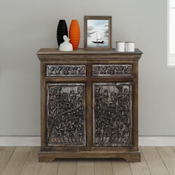 Silvestri Mango Wood Hand carved 2 Drawer Rustic Sideboard Cabinet