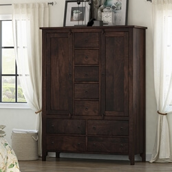 Orillia Solid Wood Handcrafted Large Moroccan Clothing Armoire
