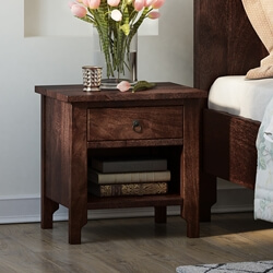 Orillia Solid Wood Handcrafted Moroccan 1 Drawer Nightstand Table
