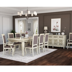 Pennsylvania Solid Wood Queen Anne Farmhouse 10 Piece Dining Room Set