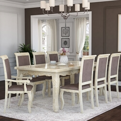 Pennsylvania Solid Wood Queen Anne Farmhouse Dining Table Chair Set