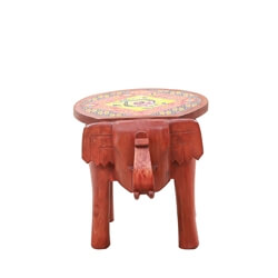 Solid Wood Hand-painted Elephant Sculpted End Table