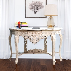 Sevran Distressed Hand-Carved Solid Wood Baroque Style Console Table