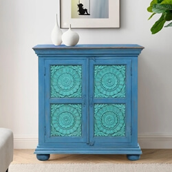 Hydrangea Hand-carved Mango Wood 2-Tone Small Storage Cabinet