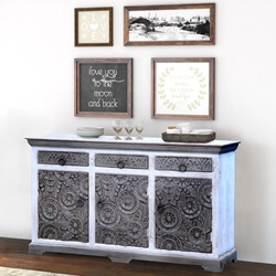 Aquino Two Tone White Rustic Reclaimed Wood 3 Drawer Large Sideboard