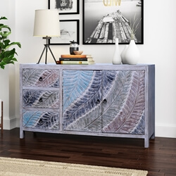 Gilberton Hand Carved Rustic Reclaimed Wood 3 Drawer Large Sideboard