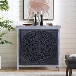 Frigiliana Dual Tone Solid Wood Hand-carved Storage Cabinet