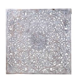 67 Inch Solid Wood Moroccan Scrollwork Square Hand Carved Wall Panel