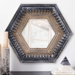 Antique Hexagonal Solid Wood Handcrafted 35 Inch Wall Mirror Frame