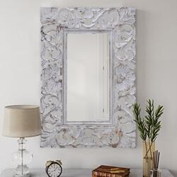 Tarragona Solid Wood White Baroque Decorative Mirror Frame