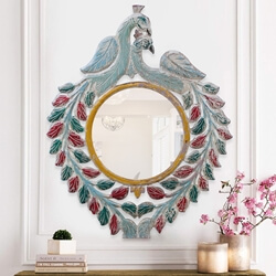 Toledo Distressed Solid Wood Peacock Accent Round Mirror Frame