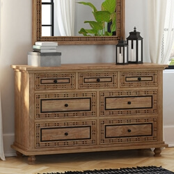 Morna Traditional Solid Wood Large Dresser with 7 Drawers