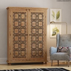 Morna Traditional Solid Wood Armoire Wardrobe With 4 Drawers
