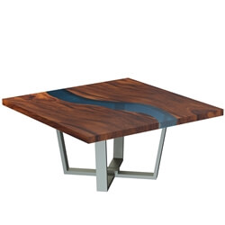 Alberta Solid Wood Live Edge Resin Square Dining Table