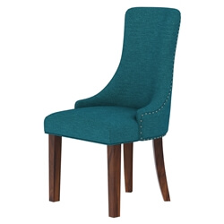 Alberta Solid Wood Upholstered Dining Chair with Nailhead Trim