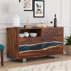 Alberta Solid Wood Live Edge 2 Drawer Large Buffet Sideboard Cabinet