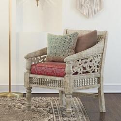 Pennsylvania Mahogany Wood Handcarved Moroccan Living Single Sofa