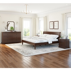 Classic Sleigh Style Handcrafted Mahogany Wood 4 Piece Bedroom Set