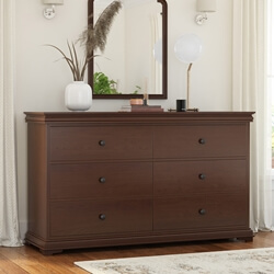 Classic Handcrafted Mahogany Wood 6 Drawer Double Dresser