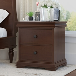 Classic Handcrafted Mahogany Wood 2 Drawer Nightstand
