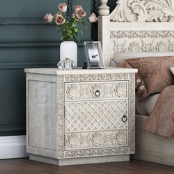 Nuala Hand Carved Mahogany Wood Nightstand with One Drawer