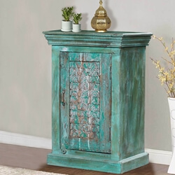 Belmont Reclaimed Wood Distressed Green Accent Storage Cabinet