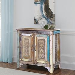 Cavendish Distressed Multi-tone Reclaimed Wood Storage Cabinet