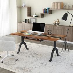 Fenland Live Edge Solid Wood Center Black Epoxy Computer Table Desk