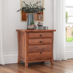 Congleton Live Edge Solid Acacia Wood 3 Drawer Vertical Office File Cabinet