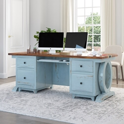 "Eden Two-Tone 77"" Large Blue Solid Wood Epoxy Home Office Executive Desk"