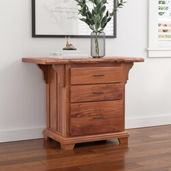 Maldon Large Live Edge Top Solid Acacia Wood 3 Drawer Vertical File Cabinet