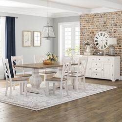 Greenville Farmhouse Two-Tone Teak Wood Dining Room Set