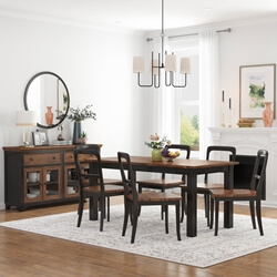 Bolsover Two-Tone Solid Wood Farmhouse Dining Room Set