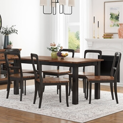 Bolsover Two-Tone Solid Wood Farmhouse Dining Table Chair Set