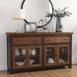 Bolsover Two-Tone Solid Wood Farmhouse Large Sideboard Cabinet