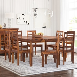 Granada Rustic Solid Wood Square Dining Table Chair Set