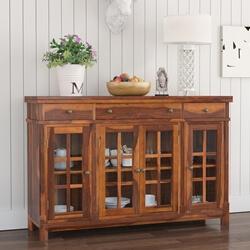 Granada Rustic Solid Wood Glass Door 3 Drawer Large Buffet Cabinet