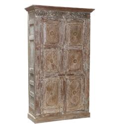 Estevan White-Washed Antique Hand-carved Sunburst Panel Armoire