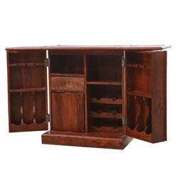 Saint Albert Rustic Solid Wood Expandable Bar Cabinet