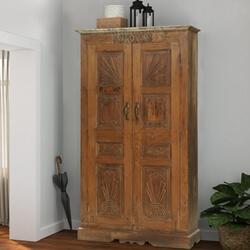 Oshawa Rustic Handcarved 2-Door Vintage Tall Armoire